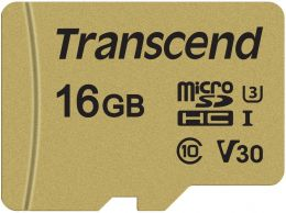 Transcend 16GB microSDXC Class 10 UHS-I U3 V30 R95, W60MB/s with adapter (TS16GUSD500S)