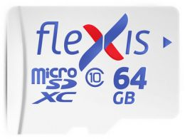 Карта памяти  Flexis microSDXC 64GB class10 U1 R/ W 92/ 40 MB/ s with adapter, made in Russia (FMSD064GU1A)